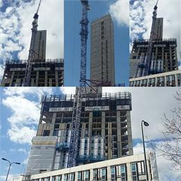 The 130 million 32 storey tower is progressing.