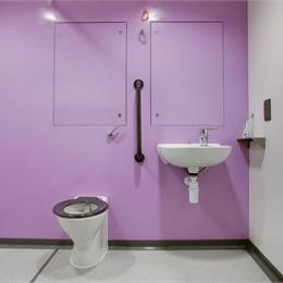 Image of a complete Bathroom Pod after installation at a Hospital.
