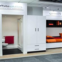 view of both offsite solutions bathroom pod booth and deanestors furniture booth