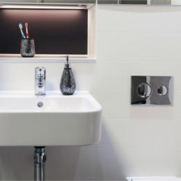 Image of GRP bathroom pods with recess for enhanced finish