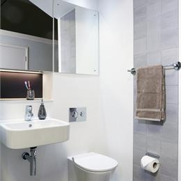 Image of a high specification GRP ensuite bathroom pod fitted by Offsite Solutions.