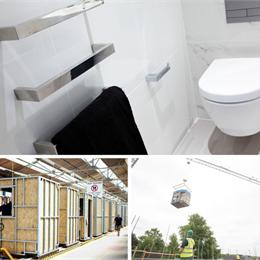 Steel-framed bathroom pods - manufactured offsite