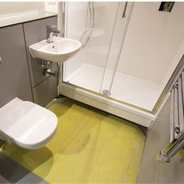 Floorless GRP bathroom pods